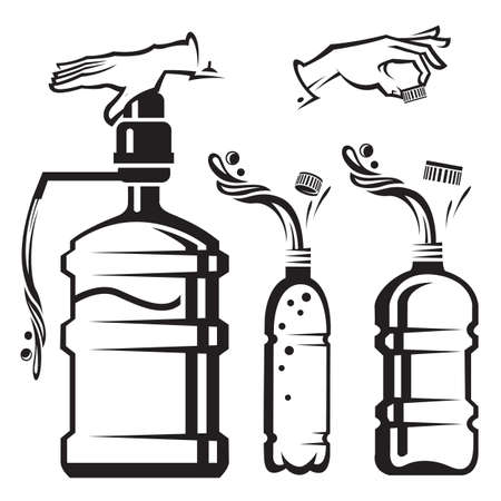 water quality: set of bottles and cooler with water