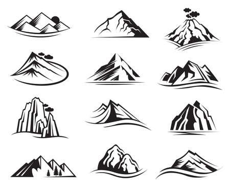 montagna: set di dodici icone di montagna Vettoriali