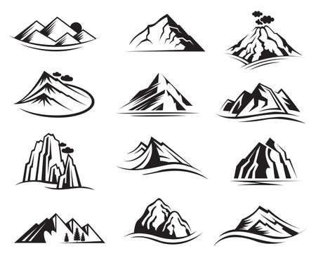 ridge: set of twelve mountain icons