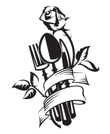 ilustración blanco y negro del cuchillo, tenedor, cuchara y rosa
