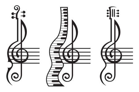 monochrome illustration of violin, guitar, piano and treble clef