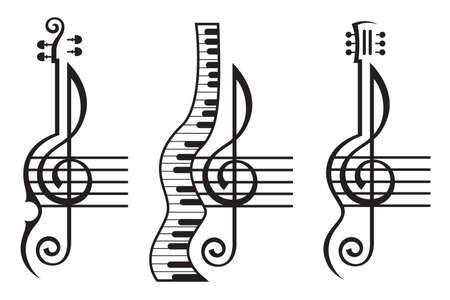 monochrome illustratie van viool, gitaar, piano en G-sleutel Stock Illustratie