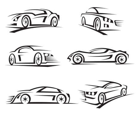 flown: set of six black cars Illustration