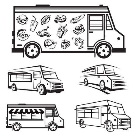 alimentos y bebidas: ilustración monocromática de cinco camiones de comida Vectores
