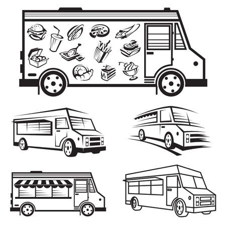 cibo: in bianco e nero illustrazione di cinque camion di cibo