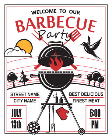 design of invitation card on barbecue party 版權商用圖片 - 43623374