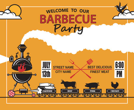 pork: design of invitation card on barbecue party