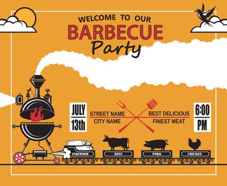 logo de comida: diseño de tarjeta de invitación de partido de la barbacoa Vectores