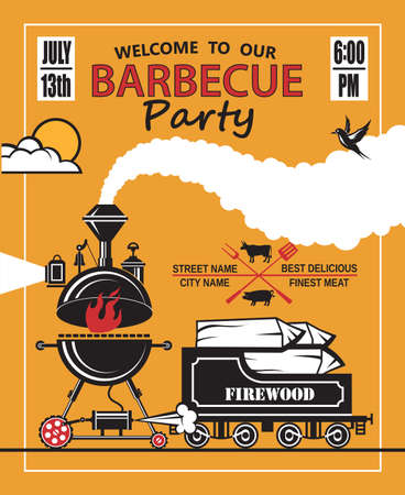 party design: design of invitation card on barbecue party