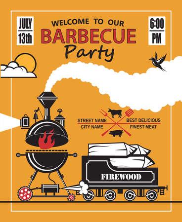 pollo asado: diseño de tarjeta de invitación de partido de la barbacoa Vectores
