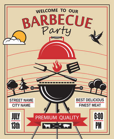 grilling: design of invitation card on barbecue party
