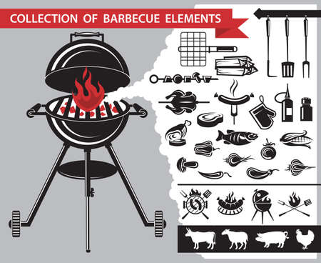 grill pattern: collection of different barbecue elements