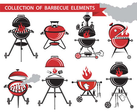 bbq picnic: collection of different barbecue elements