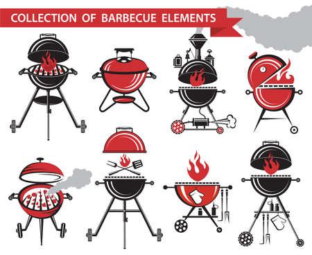 Raccolta di diversi elementi barbecue Vettoriali
