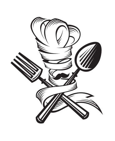 monochrome illustrations of spoon, fork and chef Stock Illustratie
