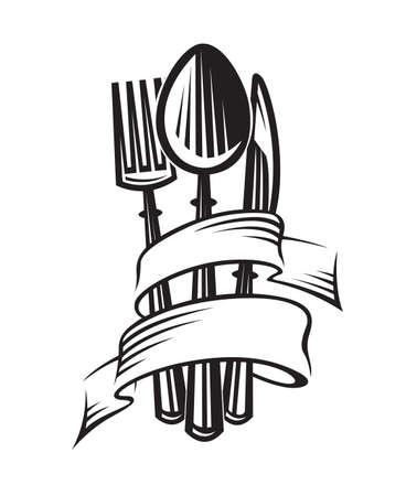 logo de comida: ilustraciones en blanco y negro de cuchara, tenedor y cuchillo