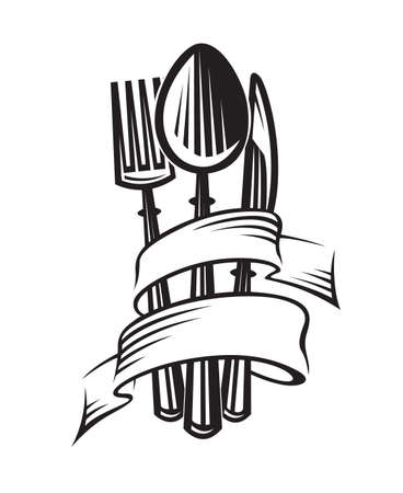 monochrome illustrations of spoon, fork and knife Vettoriali