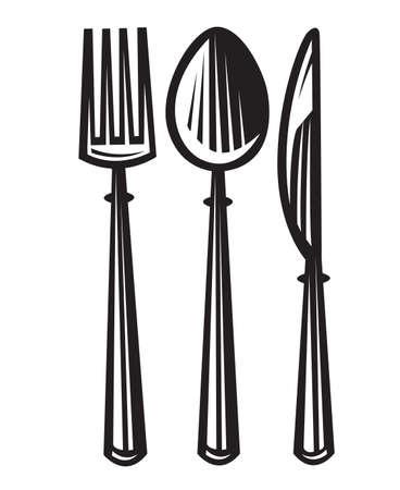monochrome illustraties set van mes, vork en lepel