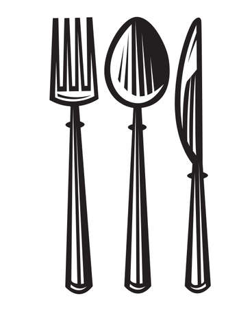 knife fork: monochrome illustrations set of knife, fork and spoon Illustration