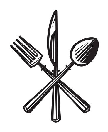monochrome illustrations set of knife, fork and spoon Stock Illustratie