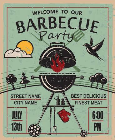 parrillero: diseño de tarjeta de invitación de partido de la barbacoa Vectores