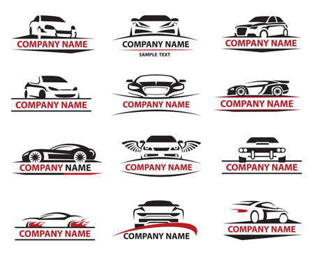 automobile industry: set of twelve car icons set