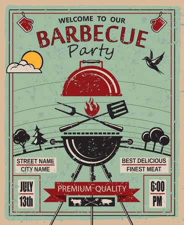 ontwerp van de uitnodigingskaart op barbecue partij