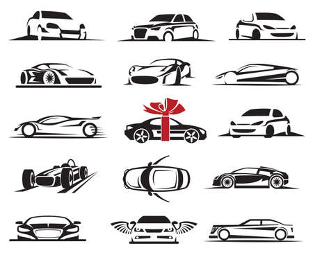 set of fifteen car icons 矢量图像