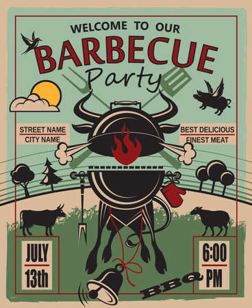 grill: design of invitation card on barbecue party