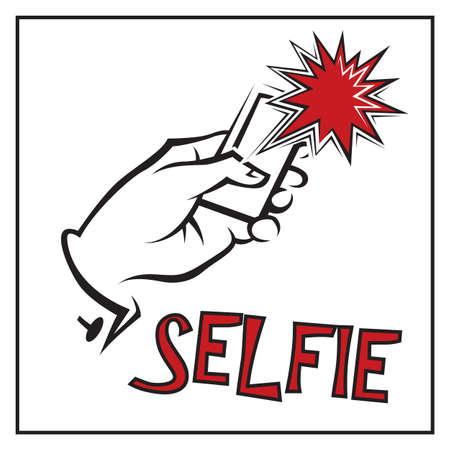 creative shot: illustration of selfie on smartphone