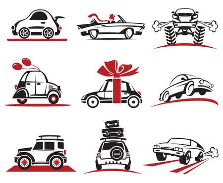 flown: set of nine car icons Illustration