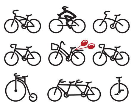 9 つの抽象的な自転車のセット