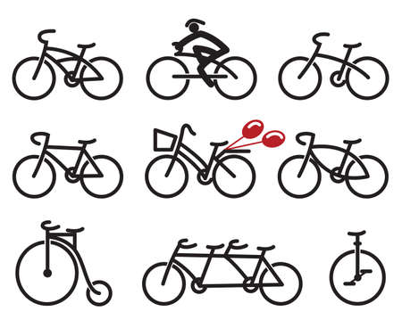 tandem bicycle: set of nine abstract bicycles Illustration