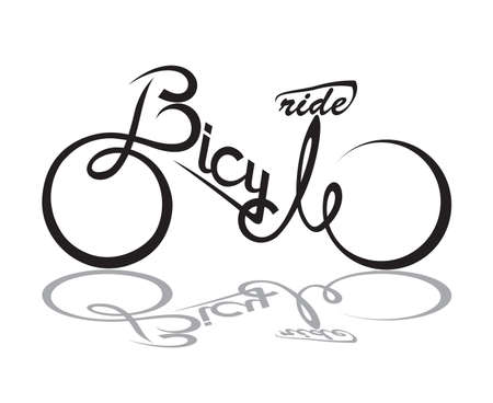 detailed image: abstract bicycle illustration with form the text