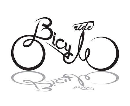 bicicleta vector: bicicleta ilustración abstracta con forma del texto Vectores
