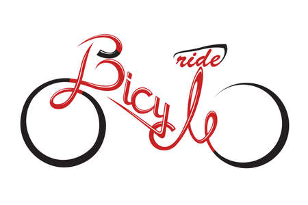 bicycle pedal: abstract bicycle illustration with form the text
