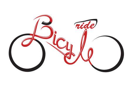 saludable logo: bicicleta ilustraci�n abstracta con forma del texto Vectores