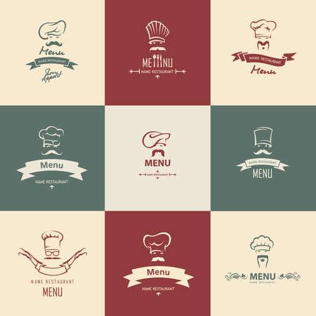 catering service: set of nine chef menu design Illustration
