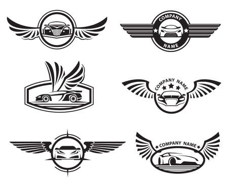 collection of six monochrome car labels with wings Stock Illustratie