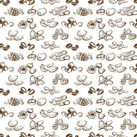 walnut: background of seamless nuts pattern