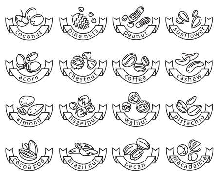 acorn: set of sixteen monochrome nuts icons