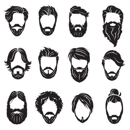 monochrome collection of twelve face with beards and hairs