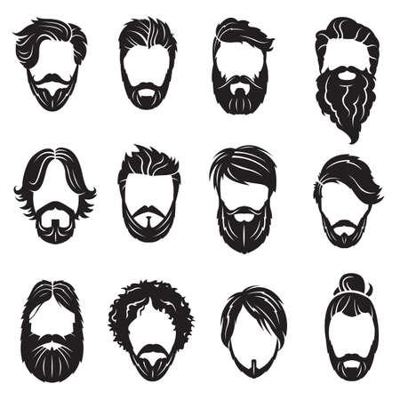 peluquero: colecci�n monocrom�tica doce cara con barba y pelos