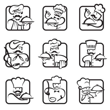 soup: monochrome collection of nine chef icons