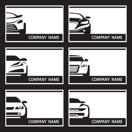motors: collection of six monochrome car labels Illustration