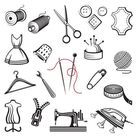 coser: conjunto de costura y costura iconos