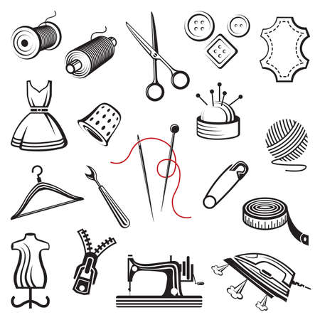 set of sewing and needlework icons