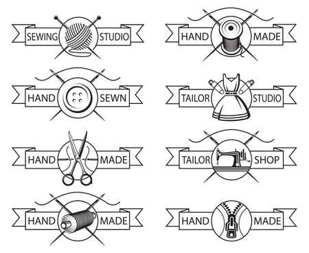 coser: conjunto de etiquetas personalizadas de ocho monocromo Vectores