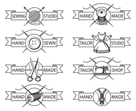 sew: set of eight monochrome tailor labels Illustration