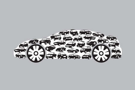 flown: car silhouette consisting of a plurality of vehicles Illustration